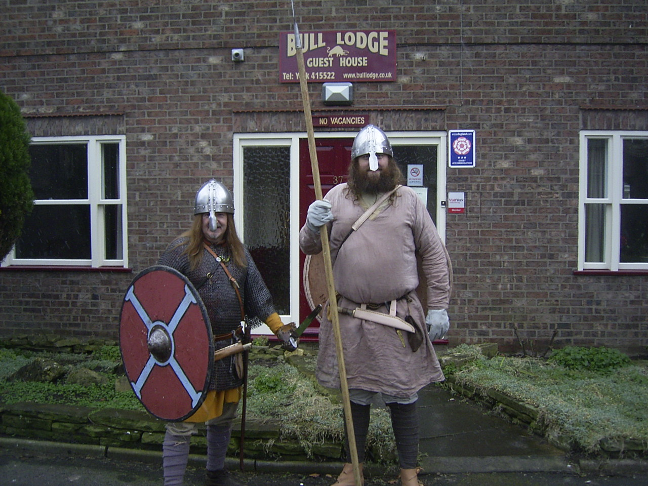 Wulfred and Alf, Saxon Warriors, prepare for battle with the Vikings